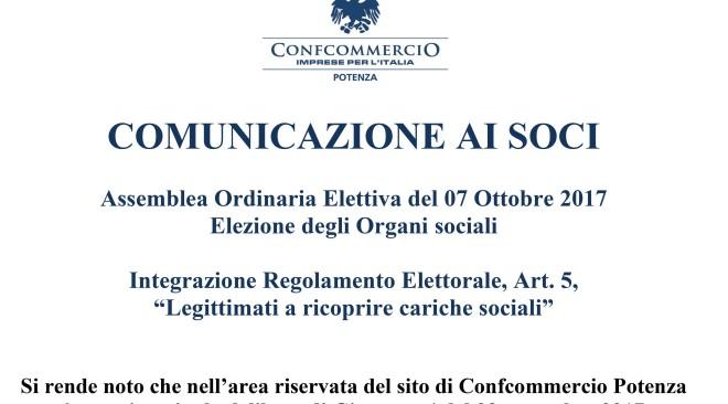 """Integrazione Regolamento Elettorale, Art. 5, """"Legittimati a ricoprire cariche sociali"""""""