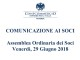 Assemblea Ordinaria dei Soci – Venerdì 29 Giugno 2018