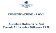 Assemblea Ordinaria dei Soci Venerdì, 21 Dicembre 2018 – ore 15:30